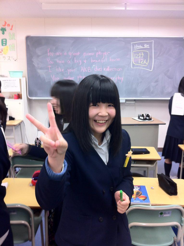 英会話授業の後の生徒さん。
