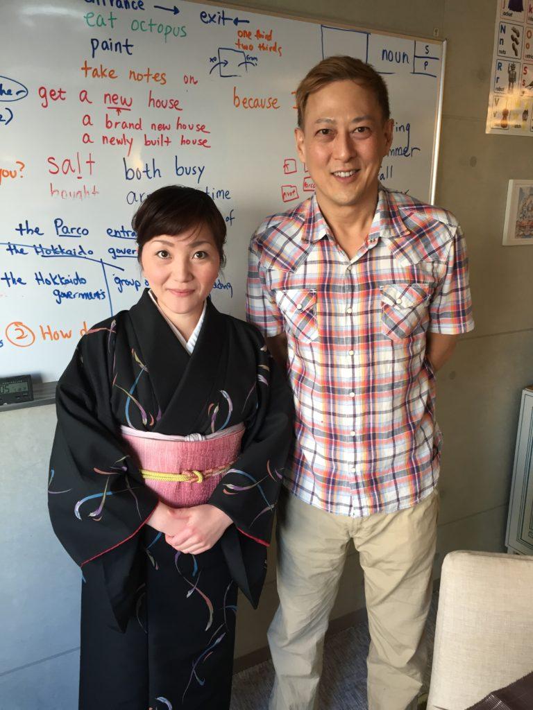 英語のレッスンの後、生徒さんと写真を撮りました。